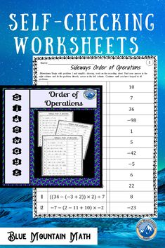 Looking for a way for students to practice using the order of operations that is self-checking? Each worksheet has 12 problems. Students will solve the first problem, look for their answer to solve the next problem. They continue until they have looped through all the problems back to problem 1. If they have a wrong answer along the way, they will know it.
