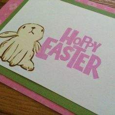 Easter Bunny Card Pink & Green Hoppy Easter by MayQueenCrafts, $3.00