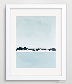 Mountains Abstract Landscape, Minimalist Poster, Blue Grey, Ocean Art, Seascape. $18.00, via Etsy.