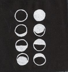 """Moon Phases - """"This moon patch drawn by hand and then printed onto black canvas/cotton floral fabric with a silk screen. Textiles, The Design Files, Stars And Moon, Sacred Geometry, Artsy Fartsy, Art Photography, Doodles, Kids Rugs, Black And White"""