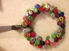 Bottle cap DIY wreath