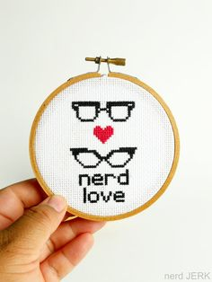 DIY Nerdy Cross-Stitch Kit - NERD LOVE 001- Complete with Geeky Beginner Embroidery Tutorial