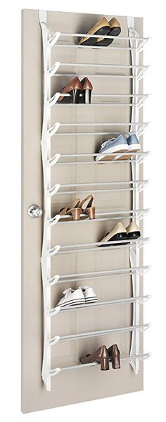 Whitmor Over-The-Door Shoe Rack 36-Pair White