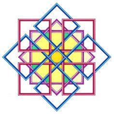 geometric art 8 point star drawing by ton ensink