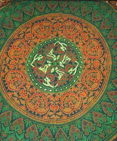 Traditional Indian floral, peacock, animal and foliage pattern in mandala shape. Printed on thick cotton.