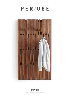 Buy online Piano walnut By per-use, wall-mounted walnut coat rack design Patrick Seha