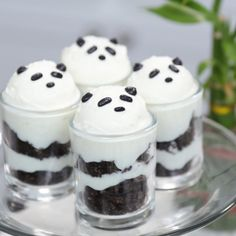 Panda pudding cups