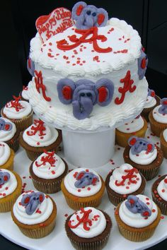 Alabama Football Elephant Cake and Cupcakes