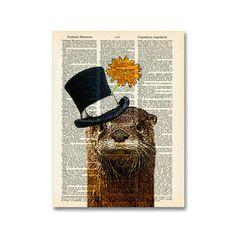 River Gentleman Otter Print by Matt Dinniman Animal Magic, Upcycled Vintage, Graphic Design Art, Wall Art Designs, Otters, Gentleman, Art Photography, Cute Animals, Poster Prints