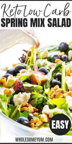 A vibrant, EASY spring mix salad recipe with blueberries, goat cheese, walnuts, and blueberry vinaigrette dressing. Ready in 5 minutes! Keto Diet For Beginners, Recipes For Beginners, Blueberry Goat Cheese, Spring Mix Salad, Vinaigrette Dressing, Keto Food List, Low Carb Keto, Blueberries, Blueberry
