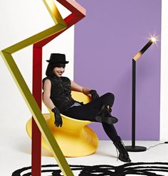 Winter Interior Decoration Trend 2012-2013 Play It! Play With Furniture & Living Accessories ~ G-Star Fashion Mixed with Dutch Design Nick-Knack Philips Lamps, Yellow Spun Chair by Magis and Doodle Carpet designed by Paola Navone.