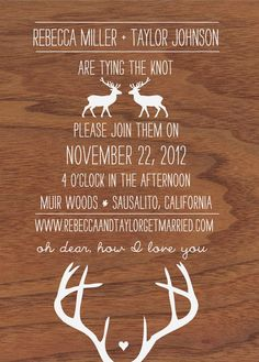 oh dear deer woodgrain and antler wedding by redribbonfoxdesign, $65.00