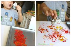 Painting fall trees with foil- a great preschool art activity!