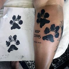 Awesome Dog Paw Inked Mens Leg Calf Tattoo Ideas