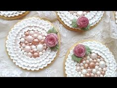 ▶ How To Decorate Cookies With Royal Icing Pearls and Brush Embroidery - YouTube