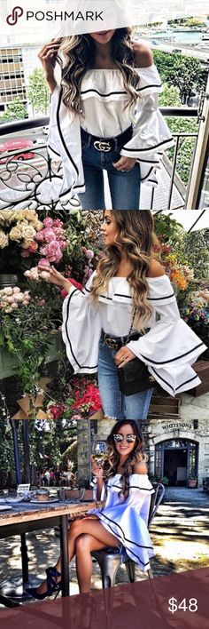 🆕Amelia Bell Sleeve & Ruffle Off the Shoulder Top New Boutique Item. This white + black top features an off the shoulder style, relaxed silhouette, elastic at the shoulders, and ruffle + bell sleeve detailing. Pair this top with some high waisted distressed denim and mules. Measurements: Small Size 0-4, Medium Size 6-8, Large Size 10-12, XL 14-16 Material: Polyester/Spandex Color: White & Black.                                                 ✖️NO TRADES ✖️NO LOW BALL OFFERS ARE ACCEPTED…