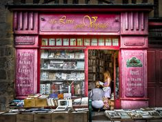 """""""A Book for Travel"""" in Limoges, France Limousin, Literary Travel, Library Bookshelves, Shop Fronts, Book Nooks, I Love Books, Book Collection, Great Places, Beautiful Places"""