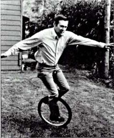 Donald Rumsfeld on a unicycle