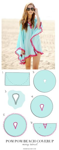 DIY Pom Pom Poncho Beach Cover Up. Easy sewing tutorial DIY Pom Pom Poncho Beach Cover Up. Easy sewing tutorial DIY Pom Pom Poncho Beach Cover Up. Sewing Hacks, Sewing Tutorials, Sewing Patterns, Sewing Tips, Diy Gifts Sewing, Sewing Basics, Sewing Ideas, Free Sewing, Cape Sewing Pattern