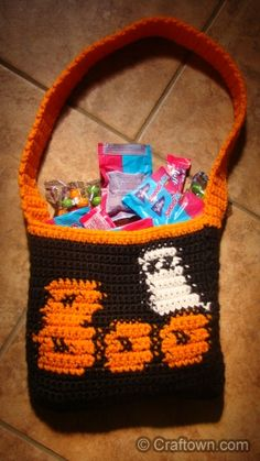 Crochet - Halloween Crafts Trick or Treat Bag!