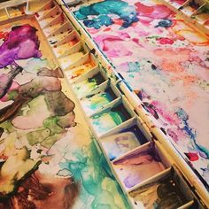 """""""Great things are done by a series of small things brought together."""" -Vincent Van Gogh #art #artist #master #quote #vangogh #palette #watercolors #phmartinsradiant #messy #creativity"""