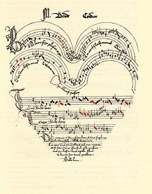 The chanson Belle, bonne, sage by Baude Cordier, an Ars subtilior piece included in the Chantilly Codex
