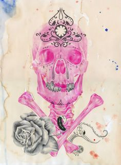 Pink ballpoint pen drawing on tea-stained paper by Paul Alexander Thornton.  #skull #skulls #obsessedwithskulls