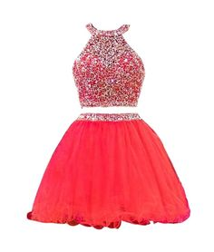TDHQ Women's Halter Rhinestoned Beading Ruffles Tulle Two Piece Homecoming Dress Red US10