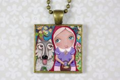 Jewelry Handmade Art Pendant Necklace Little Red  by Evonagallery, $21.00