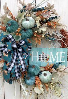 Elegant Fall Wreaths, Teal Pumpkin, Thanksgiving Wreaths, Thanksgiving 2020, Pumpkin Wreath, Farmhouse Chic, Country Farmhouse Decor, Fall Diy, Fall Home Decor