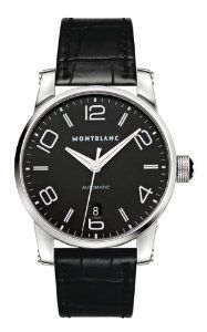 Montblanc Timewalker Black Dial Black Alligator Leather Automatic Mens Watch 105812