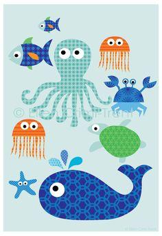 Sea Fun Poster 13x19 Illustration kids wall by EllenCrimiTrent