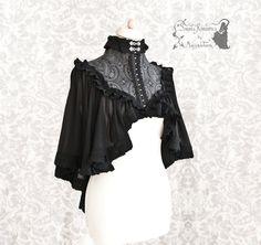 Capelet Verspertilio, Victorian inspired black shrug, steampunk noir, L-XL voile capelet, Somnia Romantica by Marjolein Turin