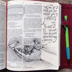 The day that I drew this page I had watched a tiny sparrow squeeze into a small hole in a roof space obviously caring for some young on their nest. I love it when GOD speaks. He was reminding me th…