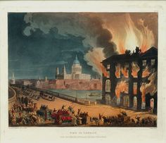 Fire in London, by Rowlandson and Pugin, Hand-colored etching and aquatint, 1808