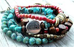 Boho Stack Bracelet, Turquoise, Coral, Wood, Beaded Bracelet, bracelet Set, Boho Jewlery