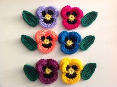 Lovely Crochet Pansies Leaves Applique Embellishment in Crafts, Crocheting & Knitting, Other Crocheting & Knitting Knitting Supplies, Pansies, Crocheting, Embellishments, Applique, Leaves, Crafts, Ebay, Flowers