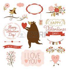 День Святого Валентина с графические элементы, вектор коллекции