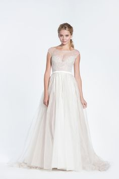 chic vintage illusion neckline lace long tulle beach wedding dress