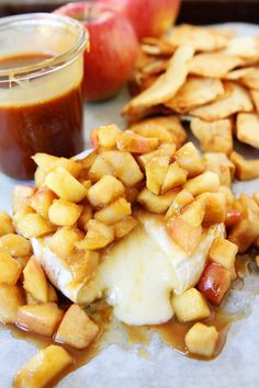 Baked Brie with Apples and Salted Caramel Recipe on twopeasandtheirpod ...