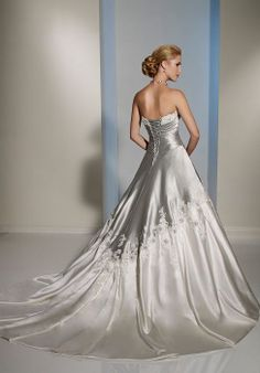 bridal shops Sophia Tolli SPRING 2012 Collection - Adelita - Satin and Mikado, or Satin; Silver Wedding Gowns, Wedding Dresses 2014, Colored Wedding Dresses, Designer Wedding Dresses, Bridal Dresses, Wedding Dresses With Ruffles, Silver Gown, Bling Wedding, Dresses 2016
