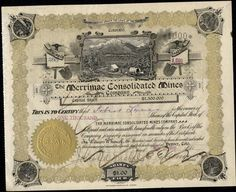 MERRIMAC CONSOLIDATED MINES CO, CRIPPLE CREEK, CO 1900         STOCK CERTIFICATE