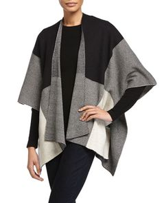 Colorblock+Wool-Blend+Cape,+Black/Eggs+by+Neiman+Marcus+at+Neiman+Marcus+Last+Call.