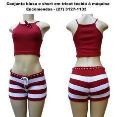 Conjunto blusa e short em tricot tecido à máquina, várias cores e tamanhos. Enviamos para todo Brasil e exterior. Fabricação própria. Consultas e encomendas no tel: (27) 3127-1133, ou por email nete@netemonteiro.com.br