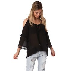 Now available on our store: Black blouse with... Check it out here! http://coco-glam-boutique.myshopify.com/products/black-blouse-with-cold-shoulder-and-crochet-sleeve-detail