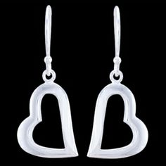 Silver earrings, heart Silver earrings, Ag 925/1000 - sterling silver. Lovely, dangle earrings in a shape of hearts' outline. Price per pair.