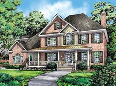 Eplans New American House Plan - A Stunning Exterior With a Wide Front Porch - 3580 Square Feet and 6 Bedrooms from Eplans - House Plan Code HWEPL58622