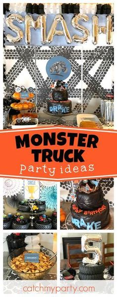 Don't miss this Monster Truck Birthday Party Smash!! The birthday cake is a blast!! See more party ideas and share yours at CatchMyParty.com #monstertruck #birthdayparty