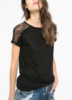 Lninana koszulka z koronką