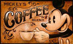 Mickey's Coffee Blend « darrenwilsonart Coffee Words, I Love Coffee, Coffee Art, Coffee Break, Dog Coffee, Coffee Menu, Morning Coffee, Mickey Mouse And Friends, Mickey Minnie Mouse